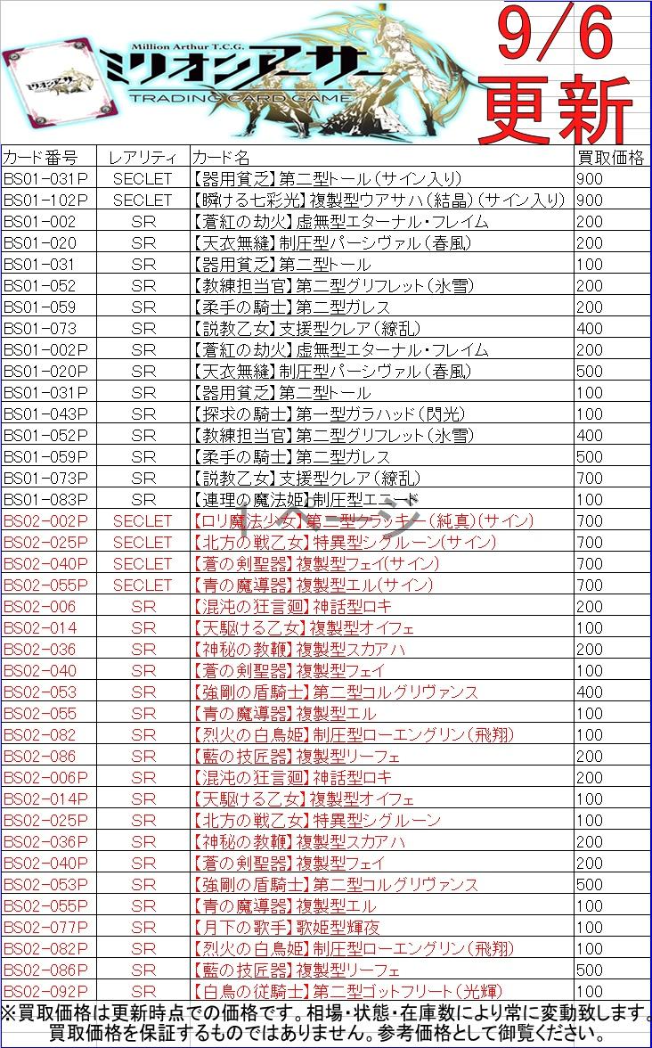 ミリオンアーサーTCG買取浜北鑑定団